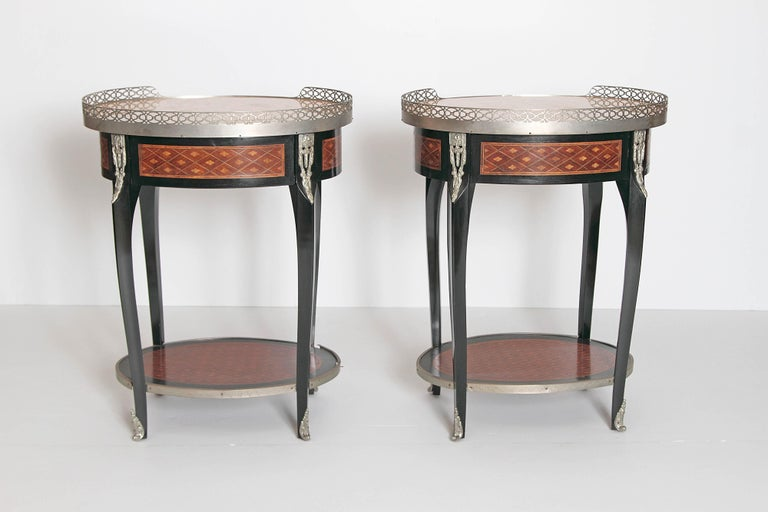 19th Century Pair of Louis XVI-Style Guéridons with Silver Gilt Bronze Mounts For Sale