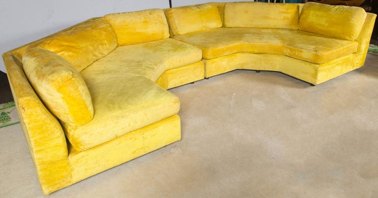 Adrian Pearsall two-piece shaped sectional sofa with craft associates tags. Excellent style in great condition. Includes two large shaped ottomans which fit on both ends of the sectional. Ready for your new upholstery.