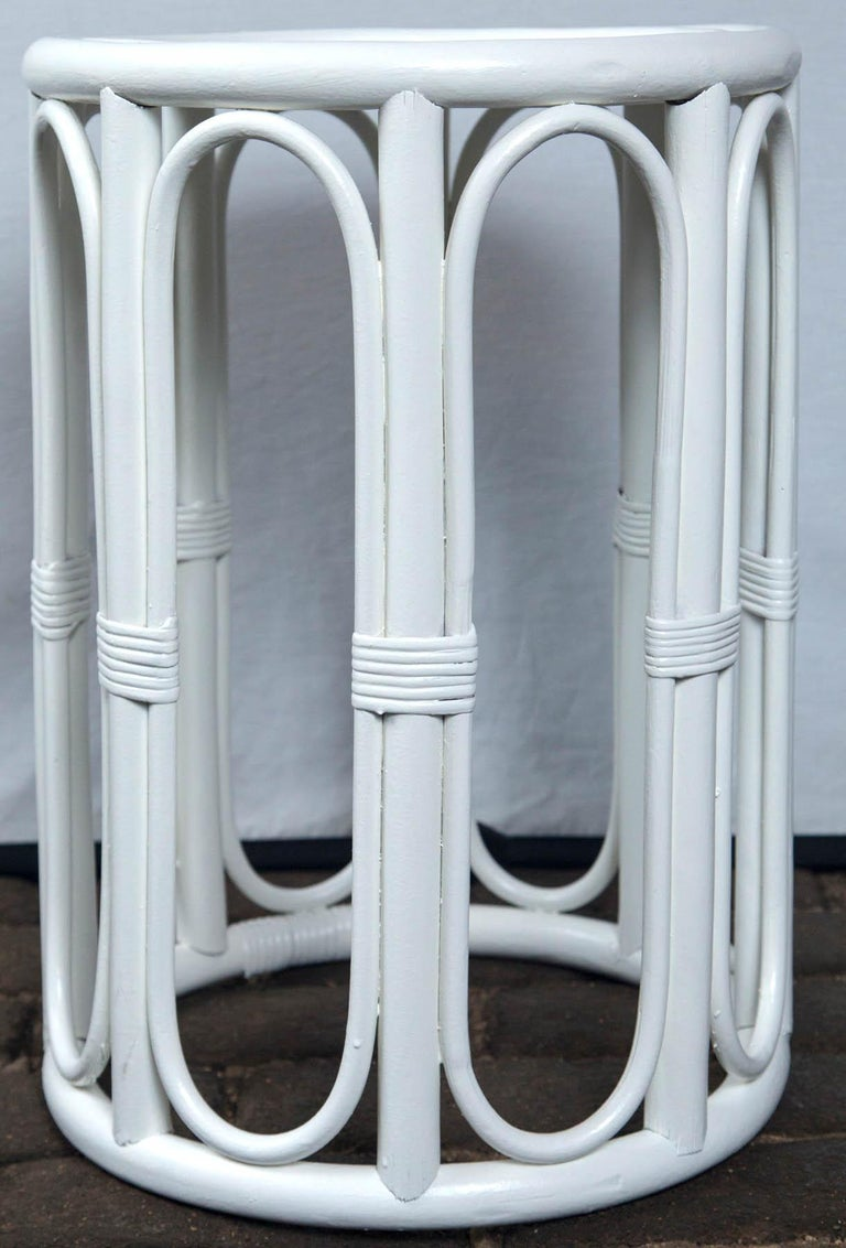 Pair of Cylindrical White Painted Rattan Side Tables For Sale 1