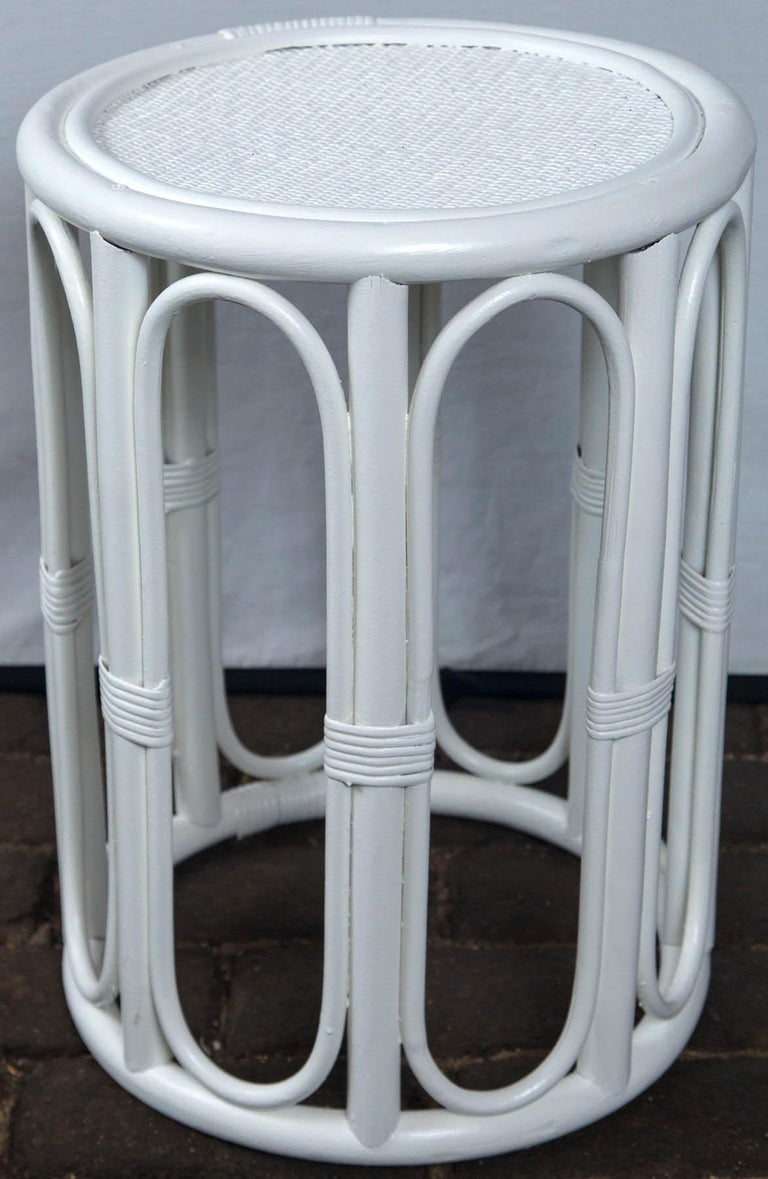 Pair of Cylindrical White Painted Rattan Side Tables For Sale 2