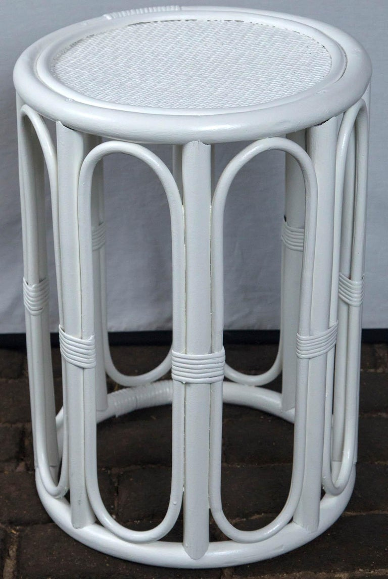 Pair of Cylindrical White Painted Rattan Side Tables For Sale 3
