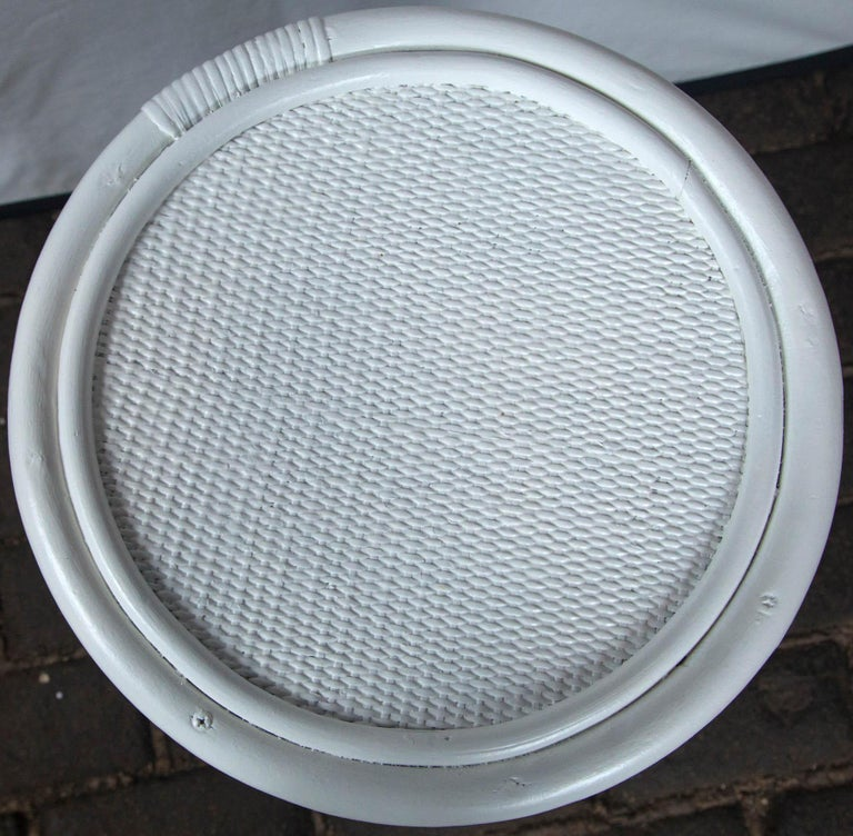 Pair of Cylindrical White Painted Rattan Side Tables For Sale 4