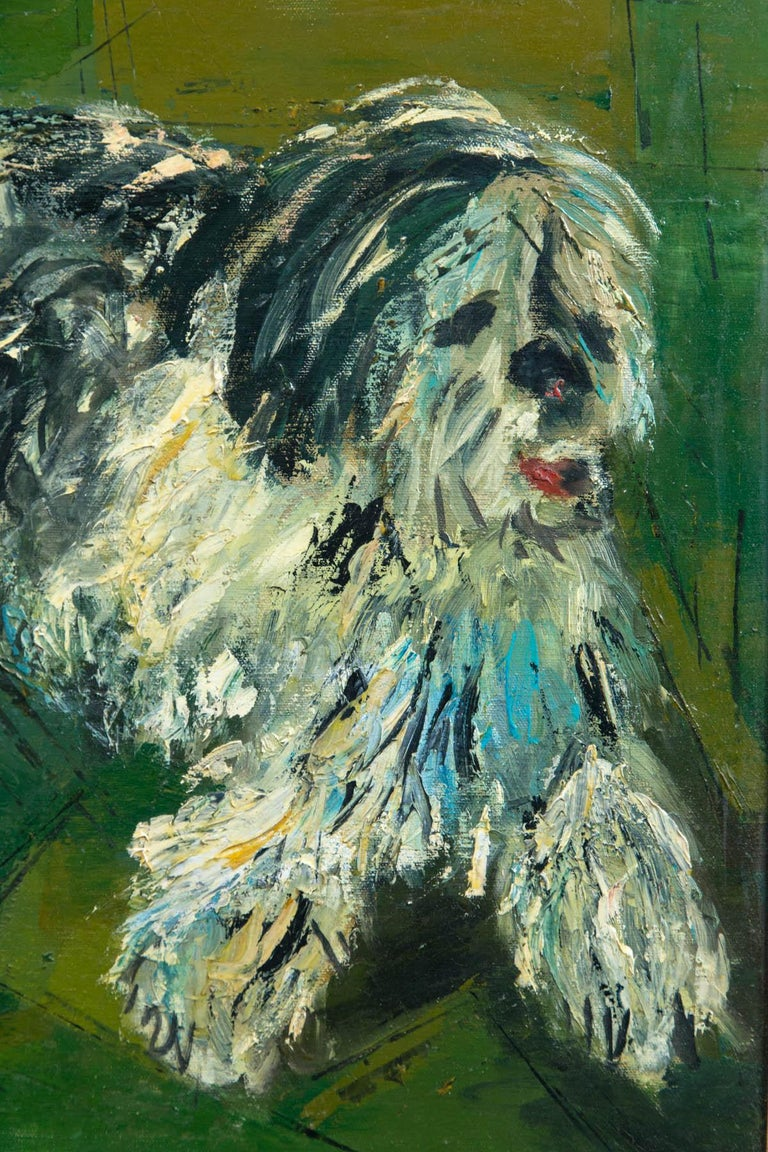 Marion Green, Oil on Canvas of Twin Girls and a Big Shaggy Dog In Good Condition For Sale In Stamford, CT