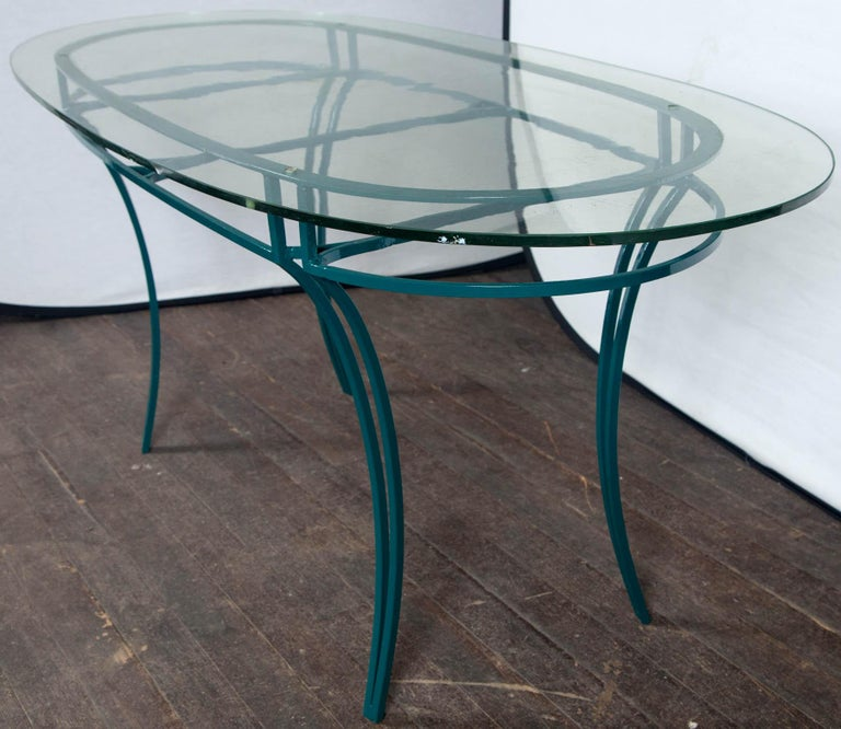 Mid-20th Century French Garden Table with Four Chairs After René Prou For Sale