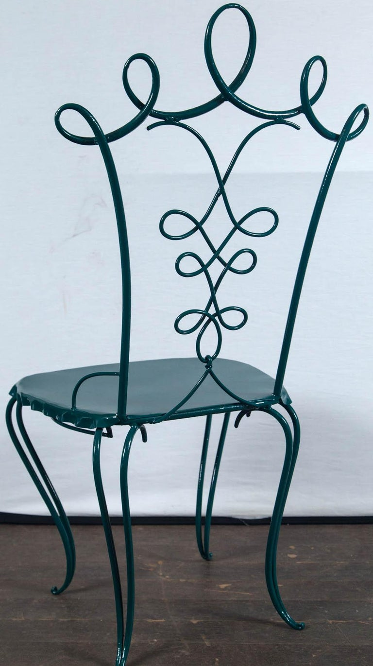 French Garden Table with Four Chairs After René Prou For Sale 5