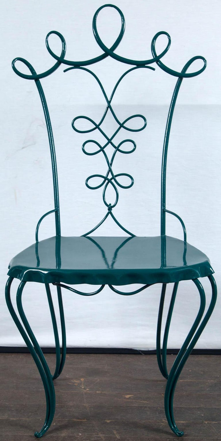 French Garden Table with Four Chairs After René Prou For Sale 6