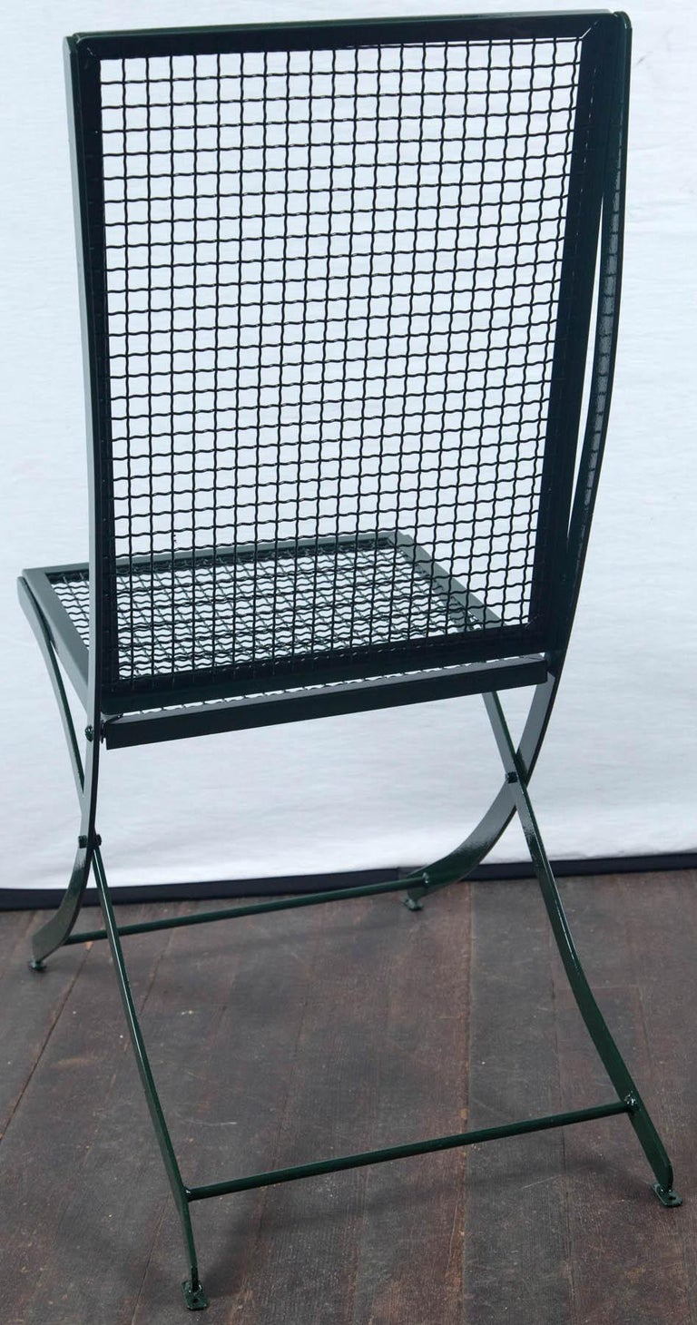 Set of Four French Iron Garden Chairs For Sale 1