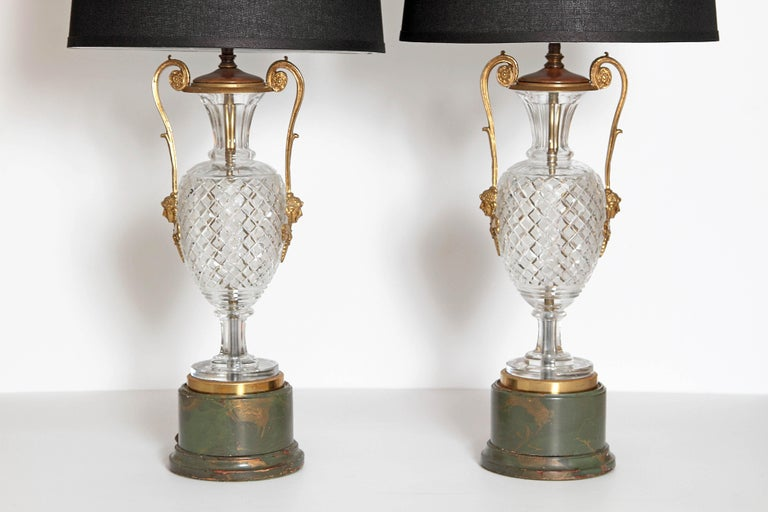 Neoclassical Mid-Century Cut Crystal and Gilt Bronze Lamps by Cristal et Bronze / Paris For Sale