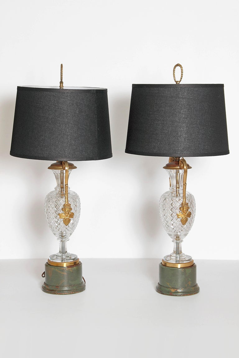 French Mid-Century Cut Crystal and Gilt Bronze Lamps by Cristal et Bronze / Paris For Sale