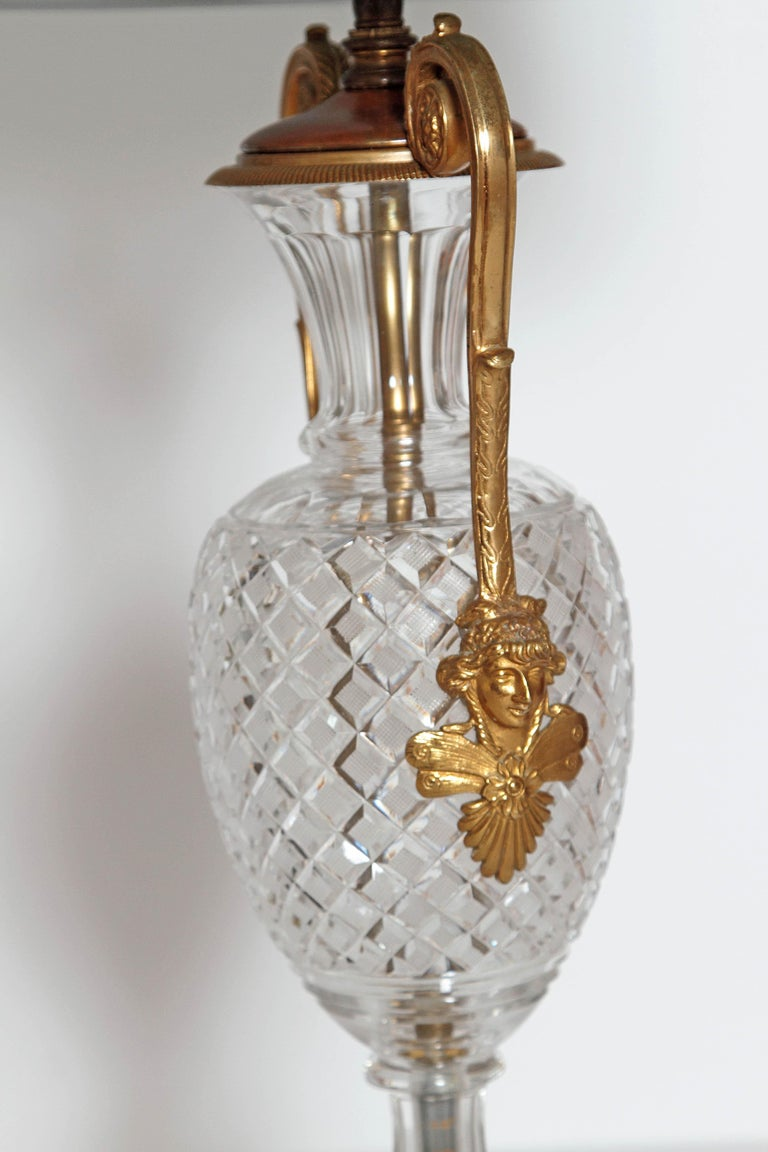 Mid-20th Century Mid-Century Cut Crystal and Gilt Bronze Lamps by Cristal et Bronze / Paris For Sale