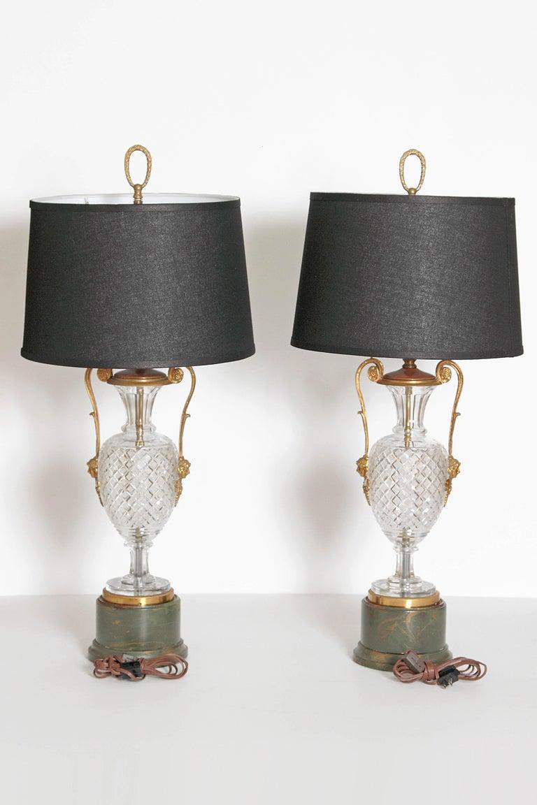 Mid-Century Cut Crystal and Gilt Bronze Lamps by Cristal et Bronze / Paris For Sale 3