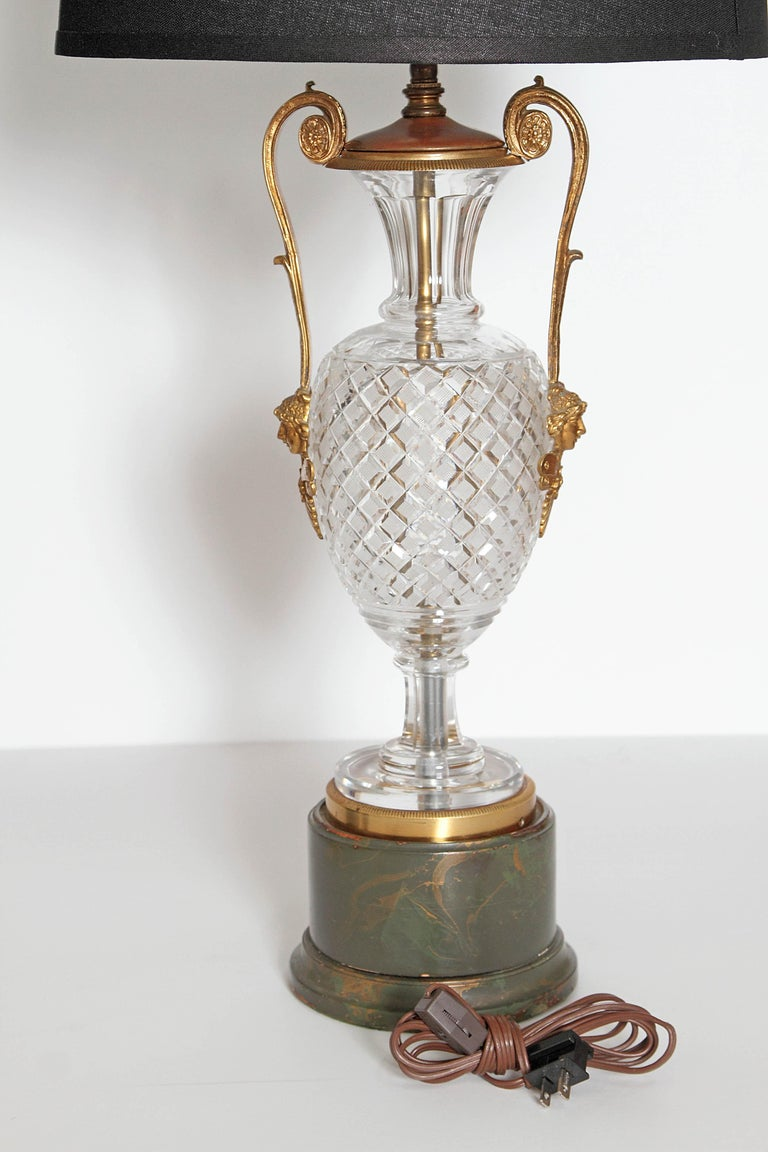 Mid-Century Cut Crystal and Gilt Bronze Lamps by Cristal et Bronze / Paris For Sale 4