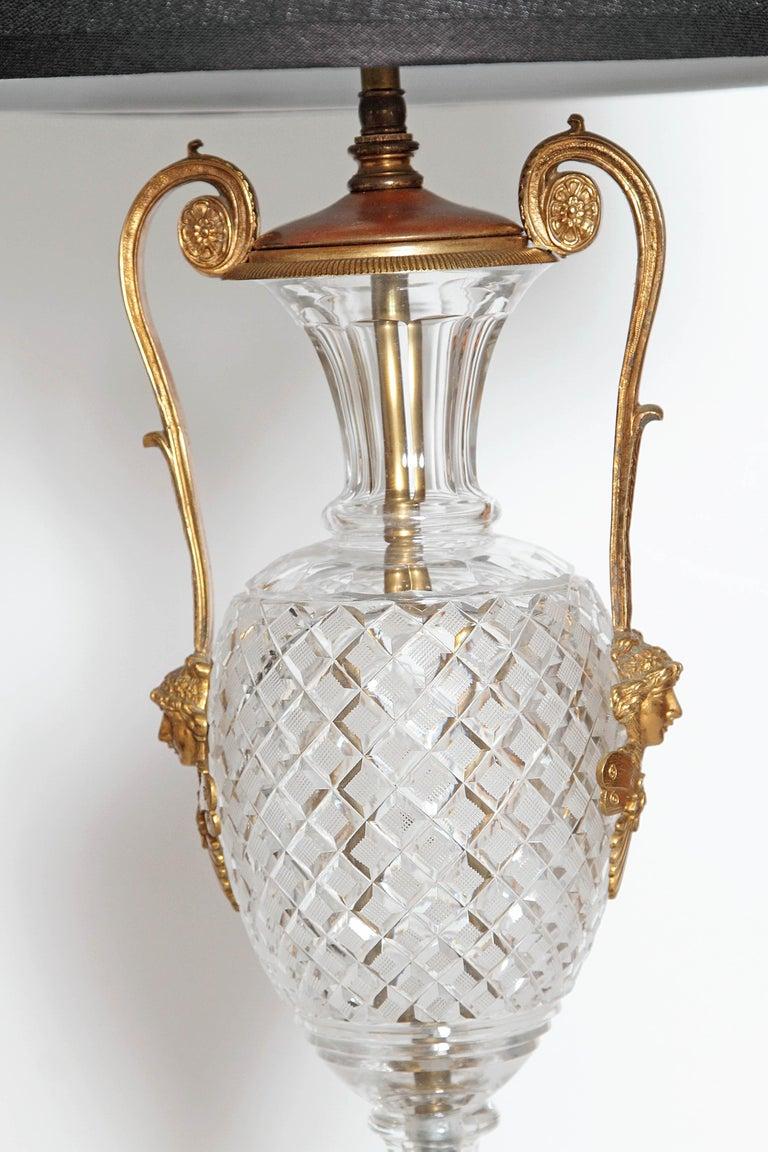 Mid-Century Cut Crystal and Gilt Bronze Lamps by Cristal et Bronze / Paris For Sale 6