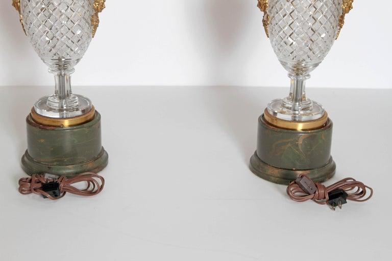 Mid-Century Cut Crystal and Gilt Bronze Lamps by Cristal et Bronze / Paris For Sale 7