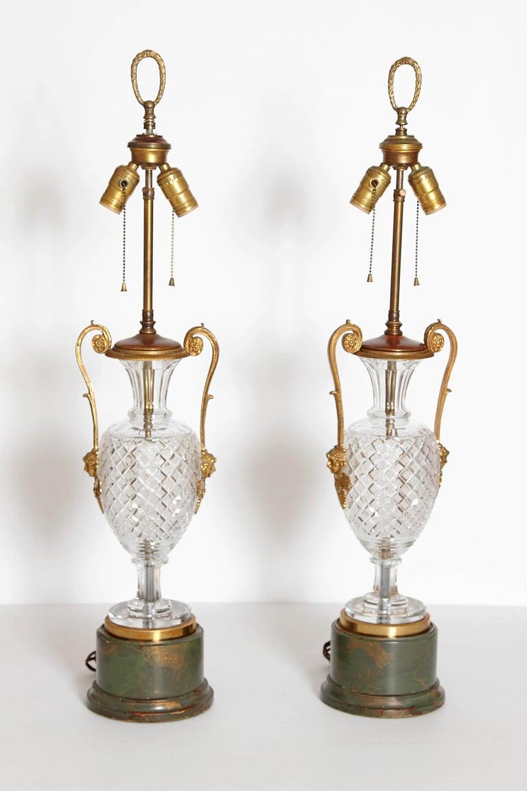 Mid-Century Cut Crystal and Gilt Bronze Lamps by Cristal et Bronze / Paris For Sale 8