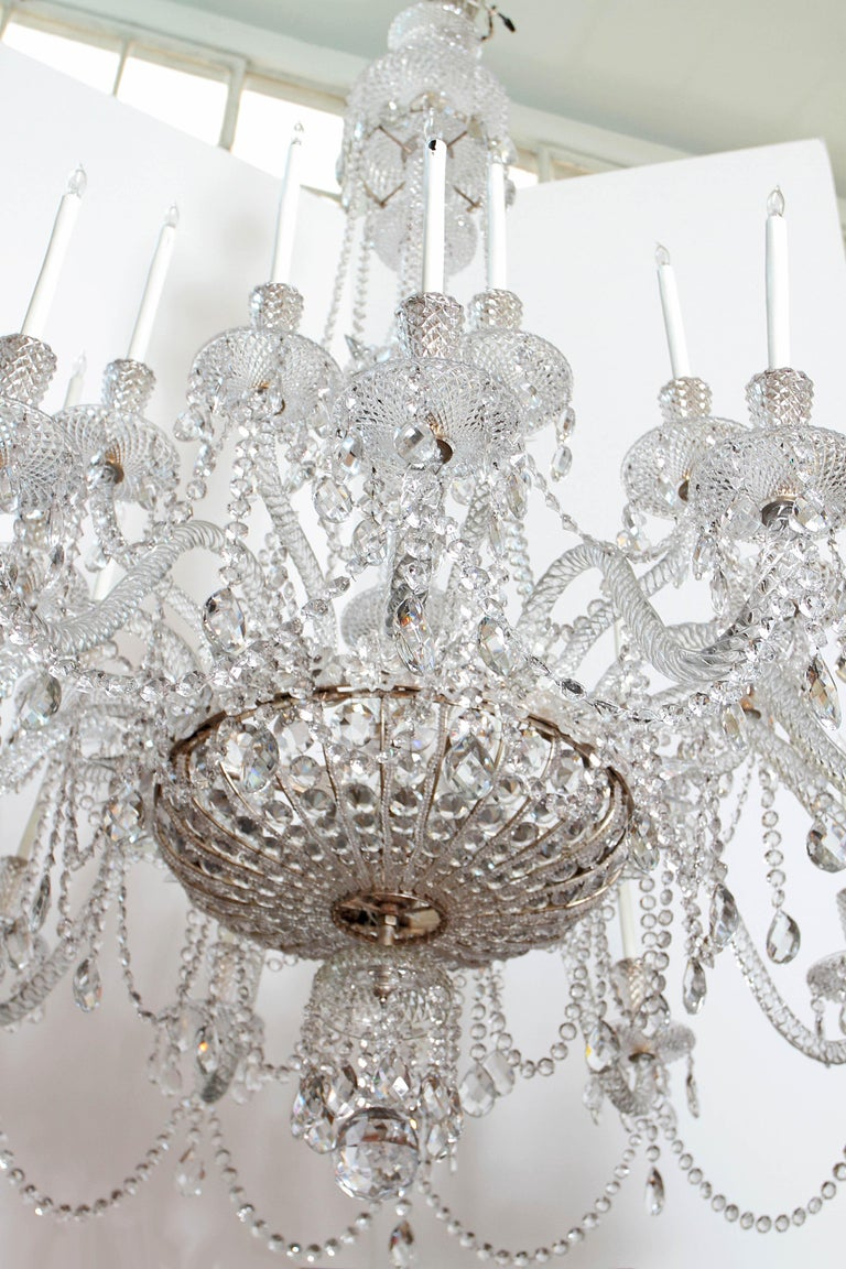 Victorian Pair of Majestic 24-Light Cut Crystal Chandeliers For Sale