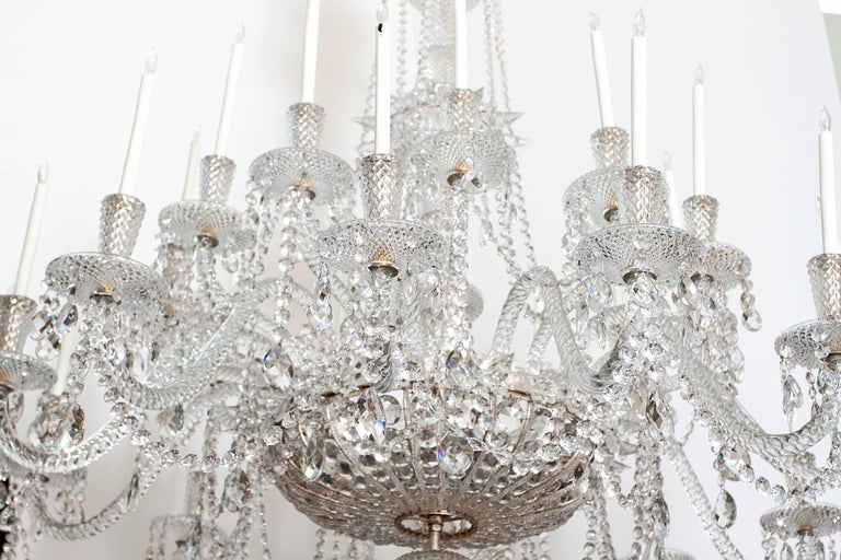 English Pair of Majestic 24-Light Cut Crystal Chandeliers For Sale