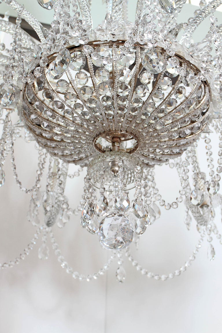 Pair of Majestic 24-Light Cut Crystal Chandeliers In Good Condition For Sale In Dallas, TX