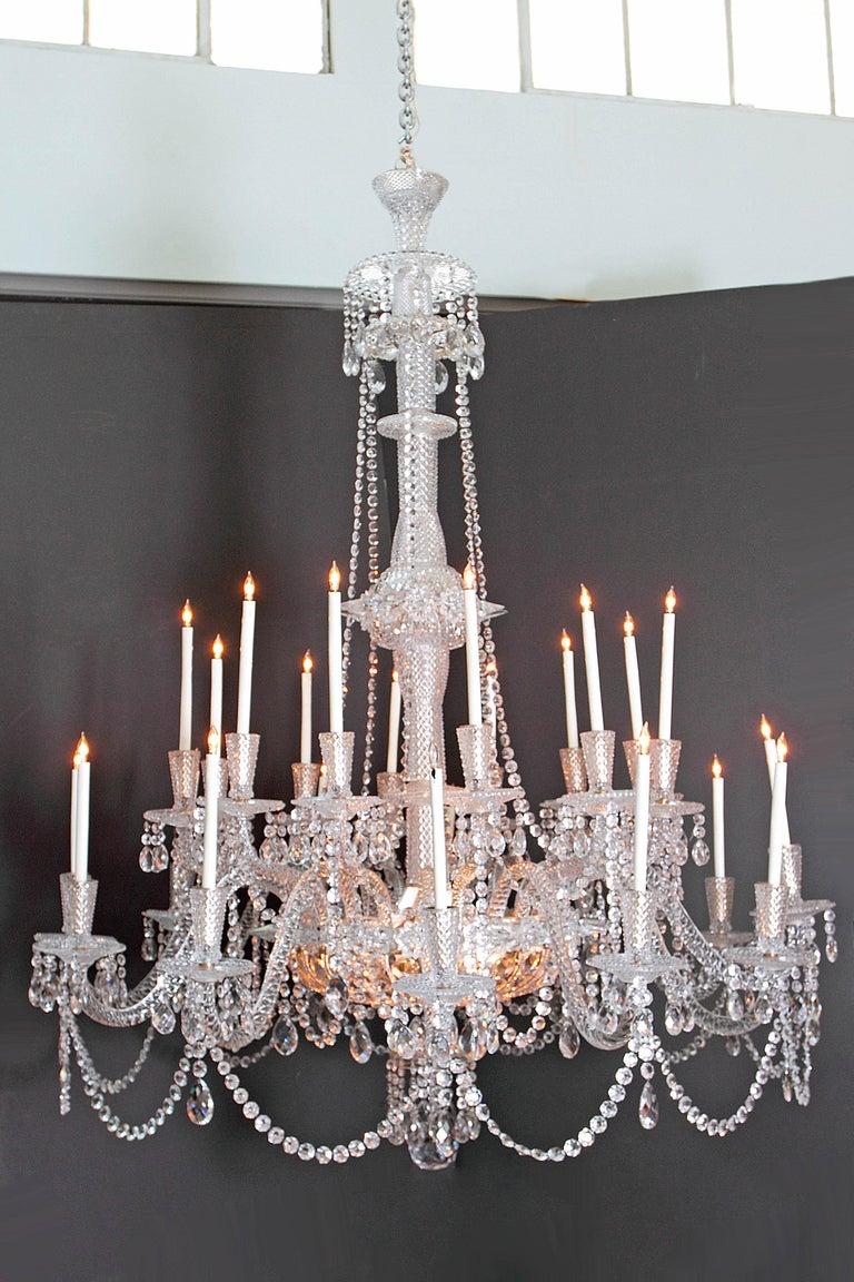 19th Century Pair of Majestic 24-Light Cut Crystal Chandeliers For Sale