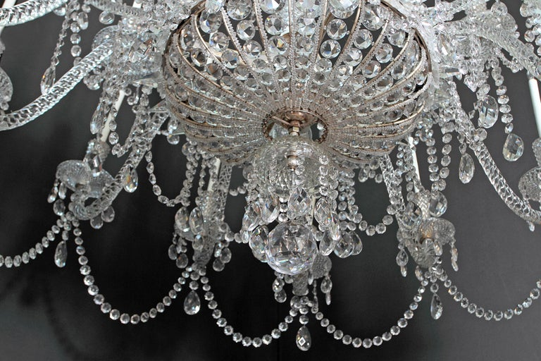 Pair of Majestic 24-Light Cut Crystal Chandeliers For Sale 6