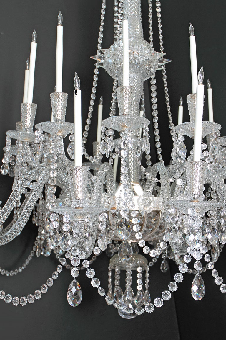Pair of Majestic 24-Light Cut Crystal Chandeliers For Sale 7
