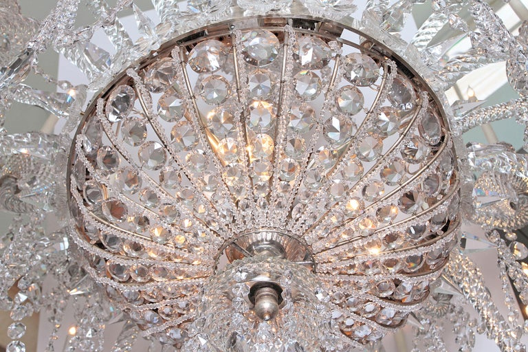 Pair of Majestic 24-Light Cut Crystal Chandeliers For Sale 8