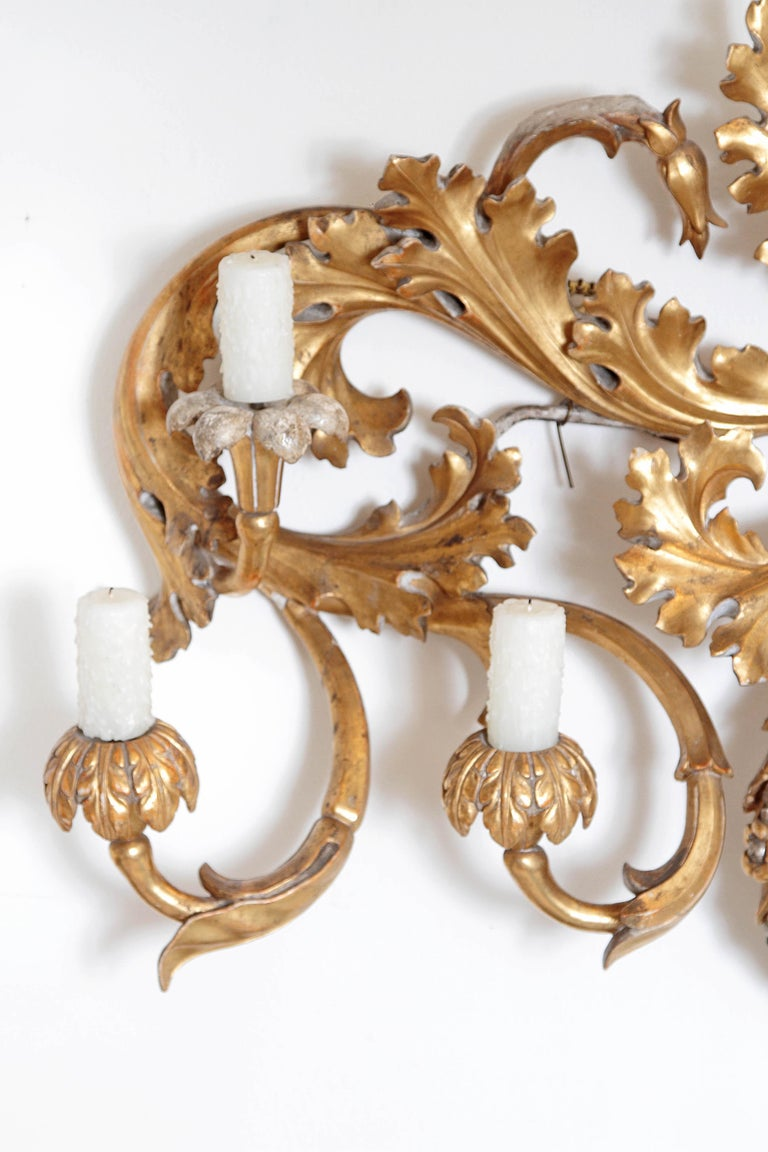 Hand-Carved Oversized Italian Baroque Style Seven-Arm Gilt and Silvered Wood Wall Sconce For Sale