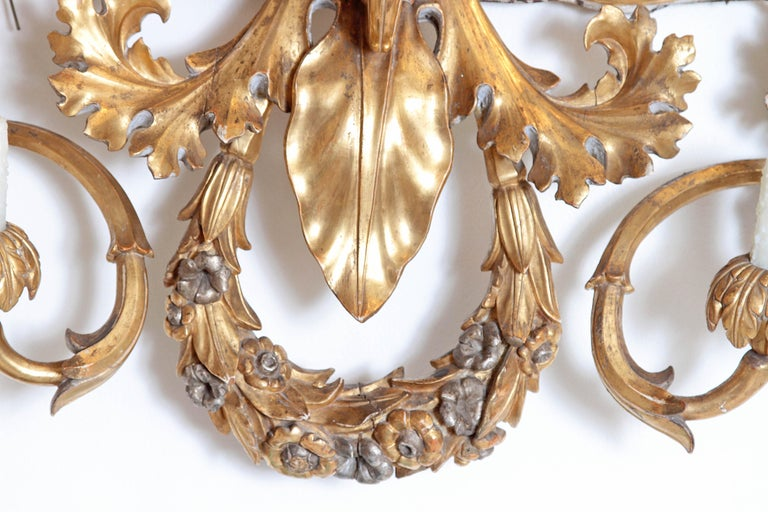 19th Century Oversized Italian Baroque Style Seven-Arm Gilt and Silvered Wood Wall Sconce For Sale
