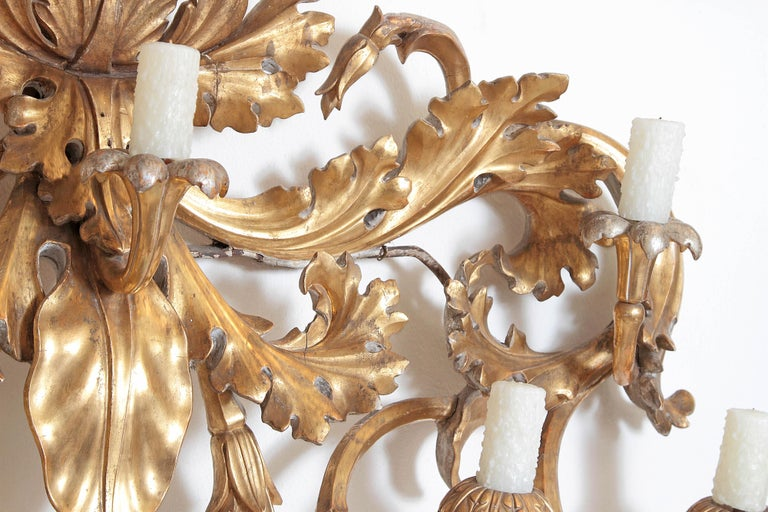 Oversized Italian Baroque Style Seven-Arm Gilt and Silvered Wood Wall Sconce For Sale 4