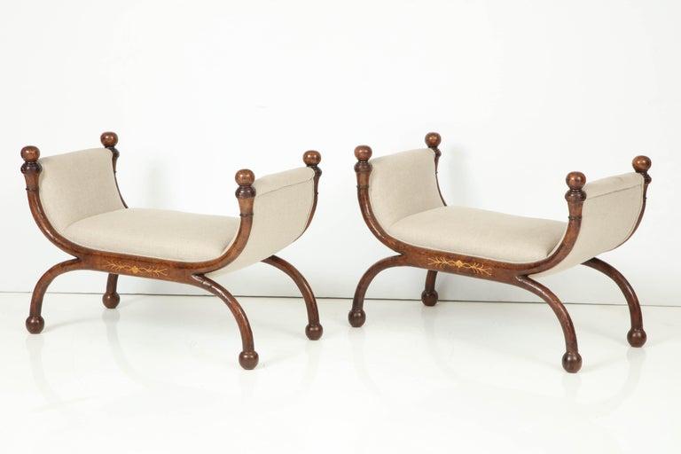 German Pair of Biedermeier Benches For Sale