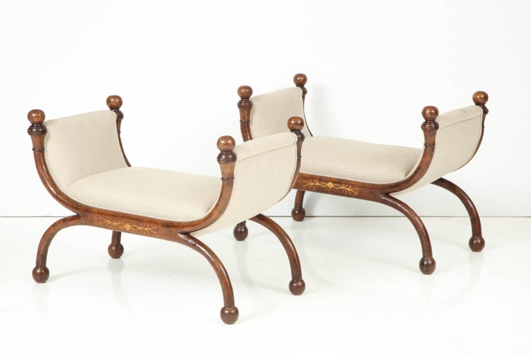 Pair of Biedermeier Benches In Excellent Condition For Sale In New York, NY