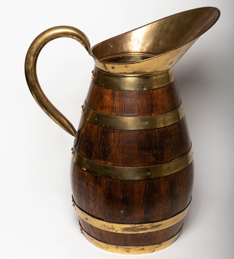 19th Century Antique English Brass Bound Oak Tavern Pitcher In Good Condition For Sale In Southampton, NY