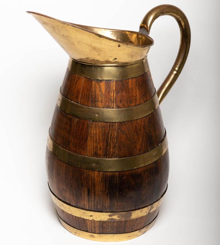 19th Century Antique English Brass Bound Oak Tavern Pitcher For Sale 2