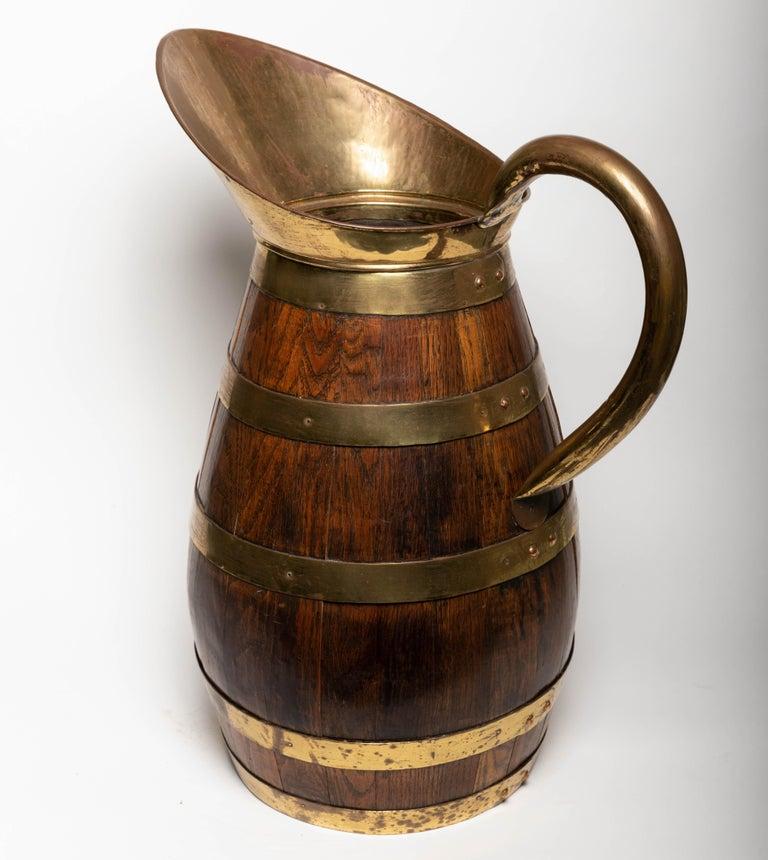 19th Century Antique English Brass Bound Oak Tavern Pitcher For Sale 3