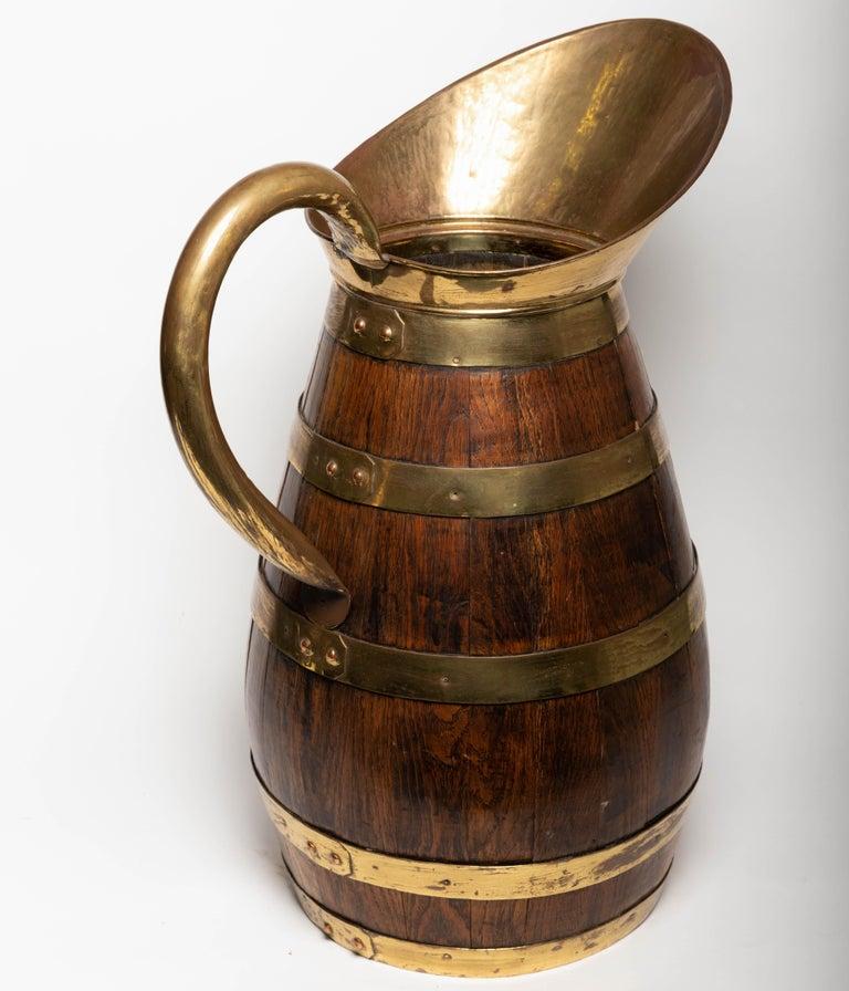 19th Century Antique English Brass Bound Oak Tavern Pitcher For Sale 4