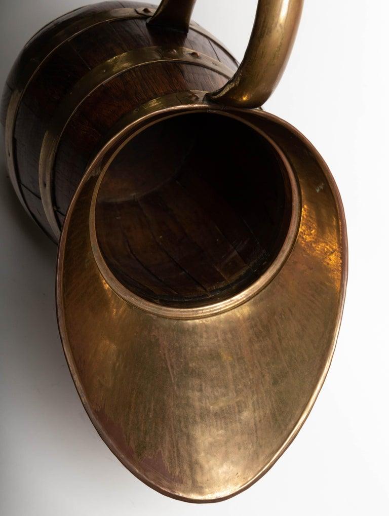 19th Century Antique English Brass Bound Oak Tavern Pitcher For Sale 5