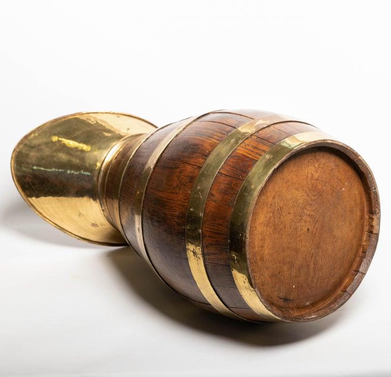 19th Century Antique English Brass Bound Oak Tavern Pitcher For Sale 6