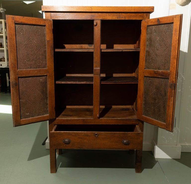 Tin 19th Century Oak Pie Safe For Sale