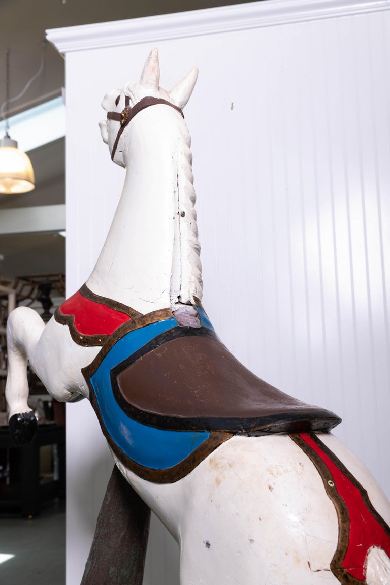 Late 19th Century Wooden Carousel Horse in Fixed Position For Sale 5