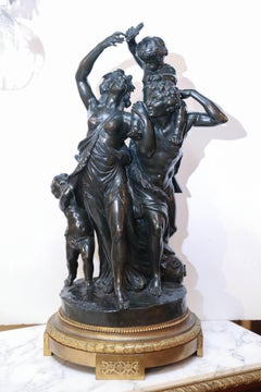"""Large Bronze Antique Statue """"the Family"""" after Clodion, circa 1889"""
