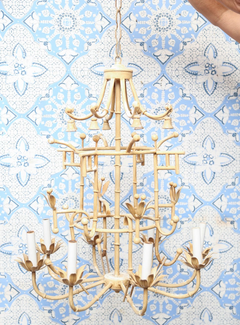 Vintage Italian iron chandelier with upper little bells.