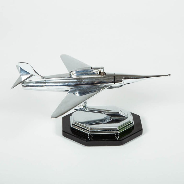 Gala Sonic Chrome Jet Airplane Desk Lighter In Good Condition For Sale In London, GB
