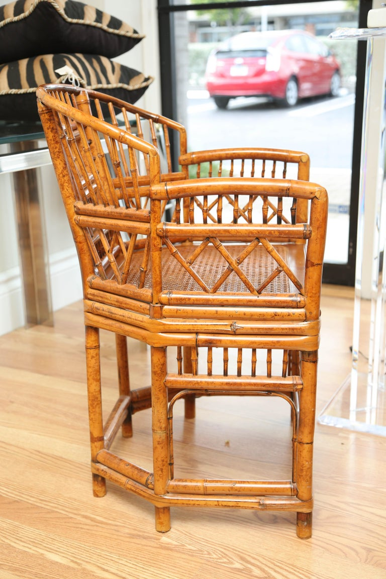 Pair of Vintage Bamboo Brighton Pavilion Armchairs  In Good Condition For Sale In West Palm Beach, FL