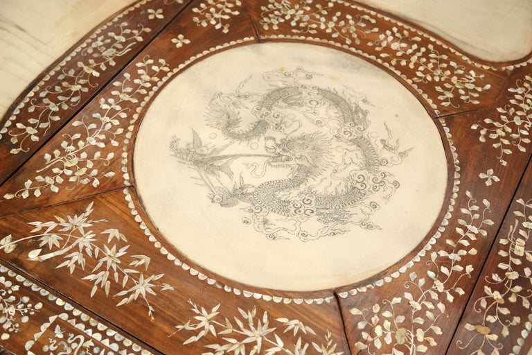 Chinese Export Chinese Wedding Bed, 19th Century Mother-of-Pearl Inlay Marble, Dragons, Royalty For Sale