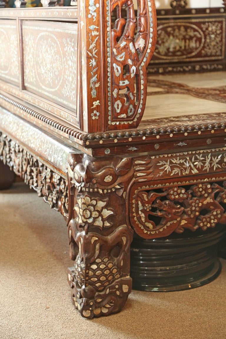 Chinese Wedding Bed, 19th Century Mother-of-Pearl Inlay Marble, Dragons, Royalty In Excellent Condition For Sale In Miami, Miami Design District, FL