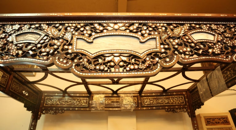 Chinese Wedding Bed, 19th Century Mother-of-Pearl Inlay Marble, Dragons, Royalty For Sale 2