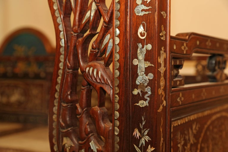 Chinese Wedding Bed, 19th Century Mother-of-Pearl Inlay Marble, Dragons, Royalty For Sale 4