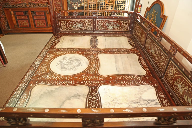 Chinese Wedding Bed, 19th Century Mother-of-Pearl Inlay Marble, Dragons, Royalty For Sale 5