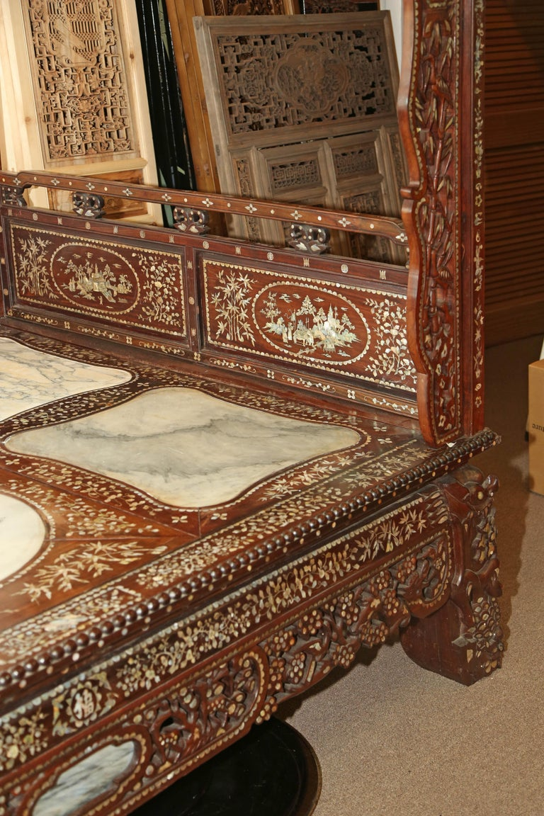 Chinese Wedding Bed, 19th Century Mother-of-Pearl Inlay Marble, Dragons, Royalty For Sale 7