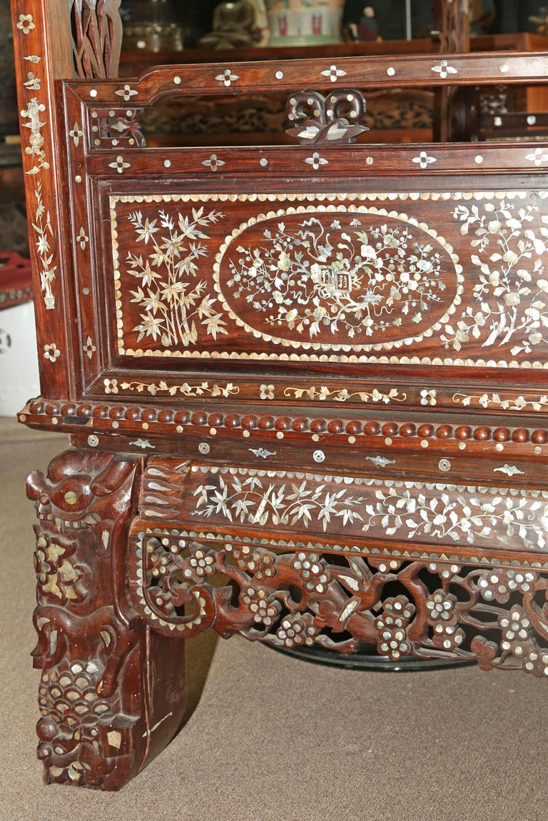Chinese Wedding Bed, 19th Century Mother-of-Pearl Inlay Marble, Dragons, Royalty For Sale 9